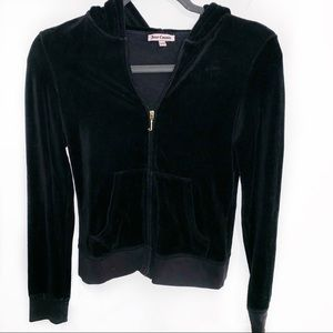 [Juicy Couture] Black Velour Zip Hoodie - Small